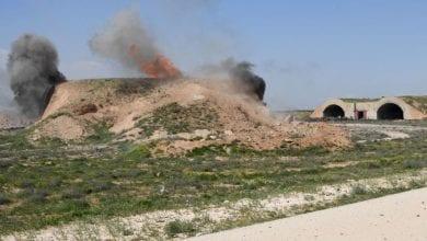 صورة انفجار ذخائر في مطار عسكري سوري يسفر عن 31 قتيلا من قوات الجيش السوري