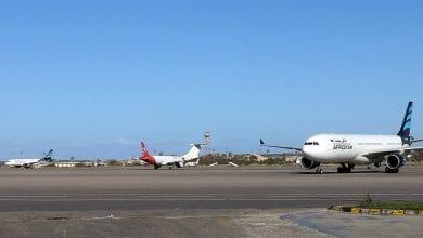 صورة مطار معيتيقة تحت القصف واشتباكات جنوب طرابلس
