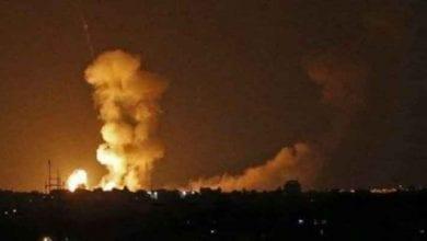 Photo of Israeli occupation airstrikes target site in Gaza Strip