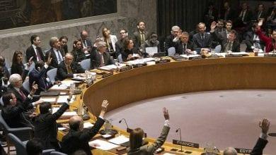 """Photo de Conseil de sécurité: Vote sur une résolution imposant """"une cessation immédiate des hostilités"""" dans la province d'Idleb en Syrie"""