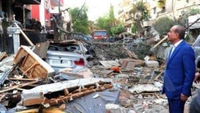 صورة قصف إسرائيلي لمنزل قيادي في حركة الجهاد الإسلامي في سوريا