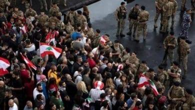 Photo de Manifestants à proximité du parlement libanais pour empêcher sa convocation