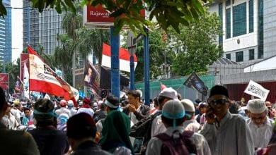 صورة إندونيسيا:مظاهرات امام السفارة الصينية دعما للأويغور