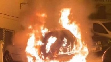 صورة احراق سيارة دبلوماسي تركي في قبرص