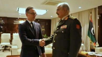 صورة حفتر في أثينا لاجراء محادثات تسبق مؤتمر السلام حول ليبيا