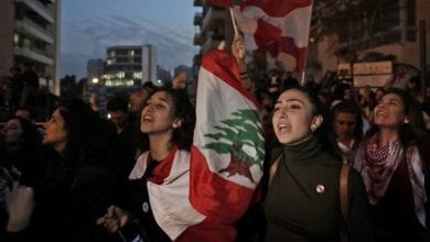 Photo of Lebanese block roads as revived protests enter fourth month