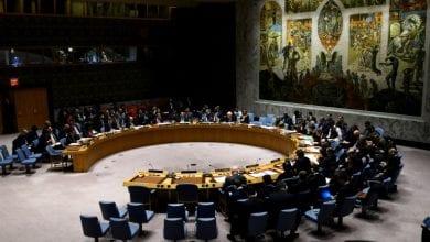 صورة مشروع قرار بشأن أزمة كوفيد-19 على طاولة مجلس الأمن الدولي