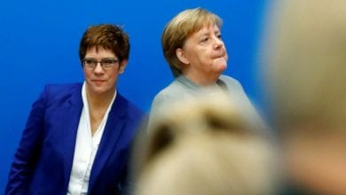 """Photo of Angela Merkel's party in chaos after her """"heir"""" says she won't enter the race for chancellor next year"""