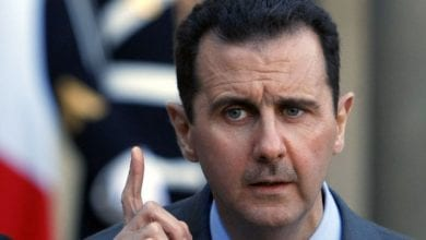 """Photo of Syria's al-Assad The battle to liberate Aleppo and Idlib and all of Syrian soil,"""" Assad said"""