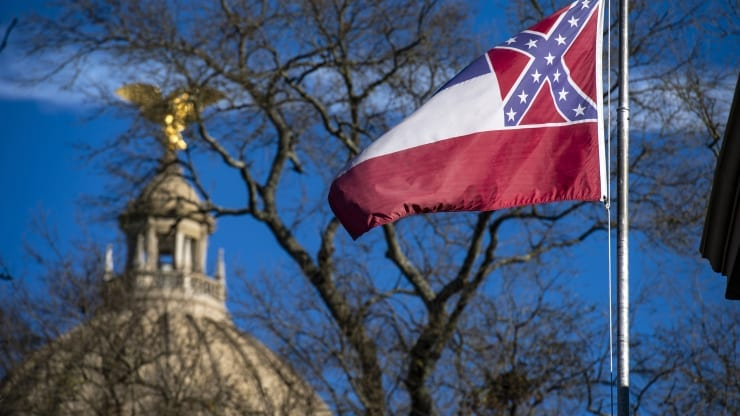 Photo of Mississippi legislators vote to remove Confederate emblem from state flag