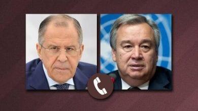 Photo de Sergueï Lavrov discute avec Anthony Guterres de la situation en Libye et Syrie
