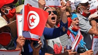 Photo de les forces de sécurité empêchent les manifestations appelant à la dissolution du parlement tunisien
