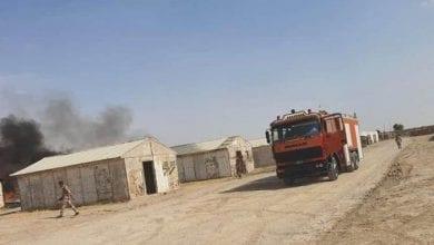 صورة سقوط 4 صواريخ كاتيوشا على قاعدة بسماية العسكرية في العراق