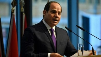 "Photo of Egyptian President Al-Sisi: ""We are keen to solve the issue of the Ethiopian dam via negotiations instead of a military option,"""