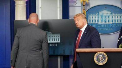 ترامب يغادر مؤتمراً صحفياً