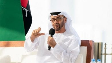 """Photo of UAE Foreign Minister Sheikh Abdullah bin Zayed Al Nahyan:"""" We still supporting Palestinian state with its capital in Jerusalem"""""""