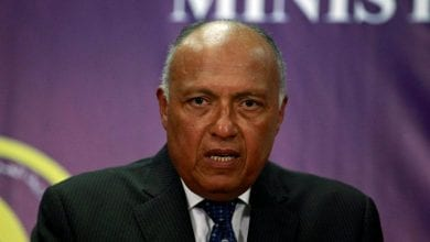 "Photo of Egypt's FM Sameh Shoukry: ""Egypt has never relinquished one inch of its soil and it will never give up one iota of its territorial waters"""