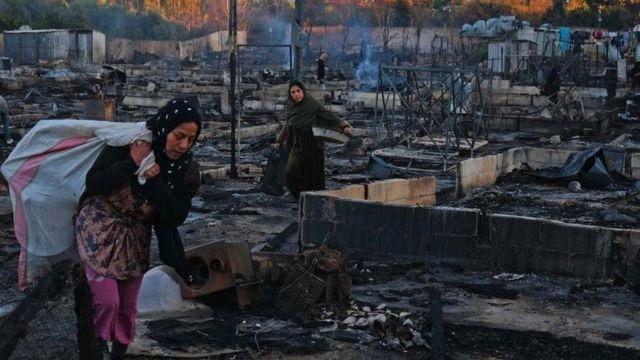 إحراق مخيم لاجئين سوريين