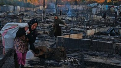 Photo of Syrian refugee camp totally burned in northern Lebanon
